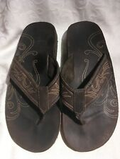 Sonoma Lifestyle Men's Brown Leather Thong Sandals With Designs Size 11