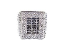 Black Cubic Zirconia Prong Set 16.7g Ring Mens .925 Silver W/ Round Cut White &