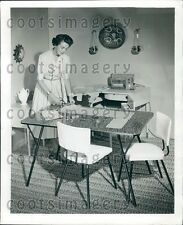 1953 Seamstress at Work in Her Sewing Room Press Photo