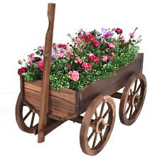 Wood Wagon Flower Planter Pot Stand W/ Wheels Home Garden Working Outdoor Decor