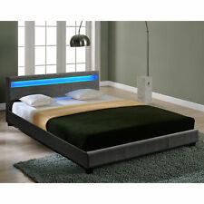 CORIUM® Cama doble con luz LED 180x200cm tapizada de tela gris cama matrimonio