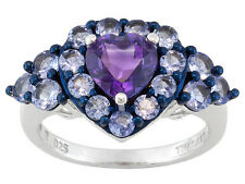 1.15 CT AMETHYST AND 1.32 CT TANZANITE RING  SET IN  925 STERLING SILVER ~ SZ 7