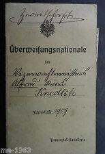 Militärpass   Überweisungsnationale 1914-22 Feldgendarm  Freikorps OU Blomberg