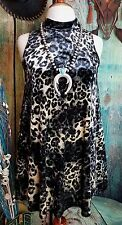 COWGIRL GYPSY VELVET LEOPARD CHEETAH DRESS  Tunic Mini HOT Holiday PARTY Sexy S