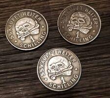 x 3 WW2 WWII German SS Kantinegeld 1 schilling skul coins Third Reich Nazi coin