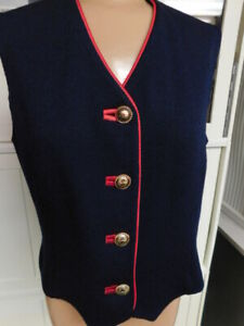 ST JOHN COLLECTION santana knit NAVY BLUE & red accent VEST sweater TOP 6  M