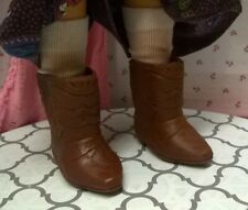 """BROWN VINYL WESTERN STYLE BOOTS SHOES & NEW WHITE SOCKS fit 17 1/2"""" CRISSY DOLL"""