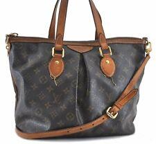 Authentic Louis Vuitton Monogram Palermo PM Shoulder Tote Bag M40145 LV B7256