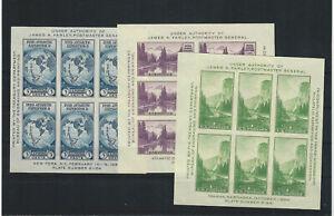 US Scott # 735, 750, 751 MINT / NH SOUVENIR SHEETS OF SIX;  SCV $55.00