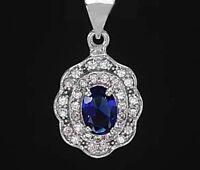 925 ECHT SILBER RHODINIERT *** Anhänger Zirkonia safir saphir blau 23 mm