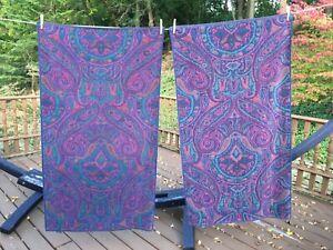 Vtg Ralph Lauren Jewel-Toned Paisley Bath Towels S/2 Blue Pony Label Blue Green