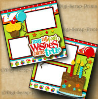 BIRTHDAY boy girl 2 premade scrapbook pages paper piecing layout ~ By digiscrap