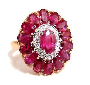 AIGS Certified 4.70ct Natural Ruby Diamonds cluster ring Ballerina No Heat