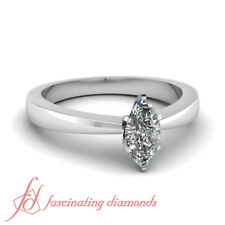 1 Carat Marquise Cut Diamond Tapered Style Solitaire Engagement Ring For Women