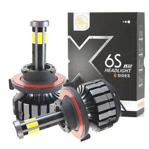 2x 6 Sides H13 9008 LED Headlight Bulbs High Low Beam 32000LM 6000K Car Light