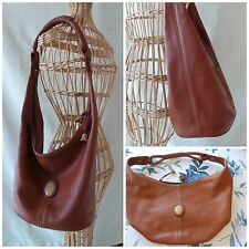 Brown Leather Purse RARE Lladro Shoulder Dust Bag Bellflower Porcelain Details