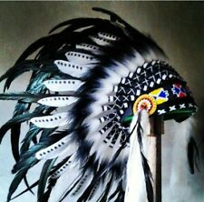 Black and White Native American Indian Headdress Costume War Bonnet