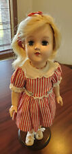 Ideal Toni Doll P-90 Hard Plastic Blonde 14 in Vintage stand red striped dress