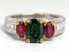 3.46ct natural vivid green tsavorite ruby diamonds ring 14kt three stone class