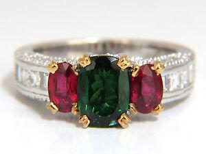 3.46ct natural vivid green tsavorite ruby diamonds ring 14kt three stone class+