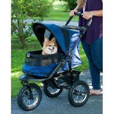 Pet Stroller 3-Wheel Jogger No Zip Dog Cat Basket Travel Midnight River Blue