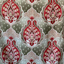 French Fabric Antique Art Nouveau Design Gray & Red Printed Textile 1.1 yards