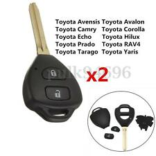 2x 2 Button Remote Key Fob Case Shell For Toyota Rav4 Corolla Camry Prado Hilux