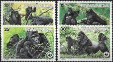"1985 ""Rwanda"" WWF, Mountain Gorilla complete set VF/MNH! CAT 29$ LOOK!"