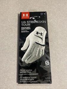 Under Armour UA Strikeskin Tour Glove White Golf Glove - left Hand & Size medium