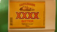 OLD AUSTRALIAN BEER LABEL, CASTLEMAINE XXXX 1980s BITTER 750ml MILTON