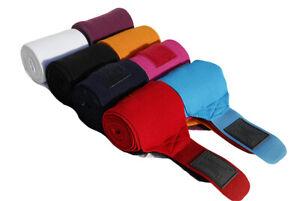 4 x Elasticated Horse Training Bandages Pink,Turquoise,Orange,Navy,Plum,Black