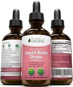 Biotin 10000mcg Liquid Drops 120 Servings Hair Growth Strong Nails & Skin