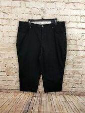 Basic Editions black capris womens 18 cropped pants new elastic insets X3