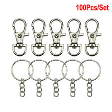 100Pcs Lobster Claw Clasp Hook Keychain Key ring DIY Making Jewelry FindingsDD