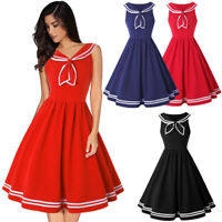 Women Vintage Nautical Sailor Rockabilly Pinup Dress Sleeveless Tea Swing Dress