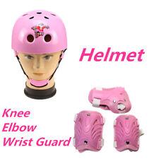 Kids Pink Knee Elbow Wrist Guard Protective Pads + Helmet Set Outdoor Sport Gear