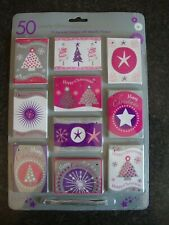 50 Luxury Glittered Christmas Gift Tags/Labels-Pink, Purple, Silver and White