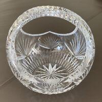 Beautiful Large Fifth Avenue LTD BASKET w/ HANDLE Cut Glass Crystal POLAND ~MINT