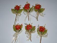 6 petits bouquets de fleurs orange autocollants.  Décoration de mariage