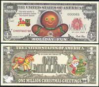 GINGERBREAD MAN / HOLIDAY FUN CHRISTMAS MILLION NOVELTY DOLLAR - Lot of 10 bills