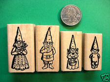 Gnome Family Rubber Stamps, four wood mounted