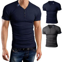 Men's V Neck Short Sleeve Shirts Slim Fit T-Shirt Casual Muscle Tee Pop