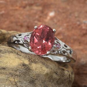 Salmon Quartz, Madagascar Pink Sapphire Plat/SSilver Ring SZ 11   #JR202