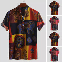 Men's Ethnic Floral Hawaiian Shirt Short Sleeve Tops Beach Holiday Casual Blouse
