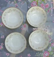 "Set of 4  Noritake Ivory China Berry Bowls ""Gold Ivy"" Pattern #7531"