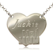 STERLING SILVER NAME CHAIN HEART PERSONAL NO1MUM NECKLACE DOG TAG FREE ENGRAVING
