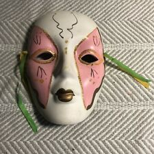 Pink White And Gold Handpainted Ceramic Mask