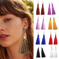 Women Fashion Bohemian Ear Stud Boho Drop Dangle Long Tassel Fringe Hook Earring