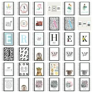Nursery Childs Bedroom Home Wall Art Prints Pictures Quotes Initials Animals