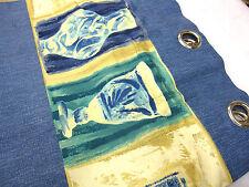 1 Pair 1 largeur Double Oeillet tête 233cm long rideaux bleu avec Inséré bleu